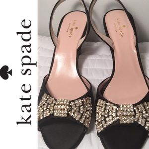 NWOT Kate Spade Satin & Crystal Bow Shoes Size 9.5